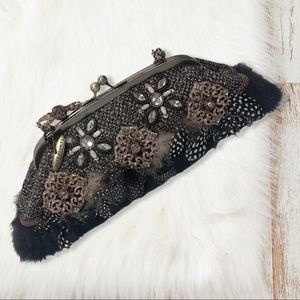 ✨MARY FRANCES✨ feather evening bag
